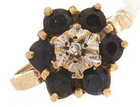 A 9ct gold gem set cluster ring, 3.7g, size Q