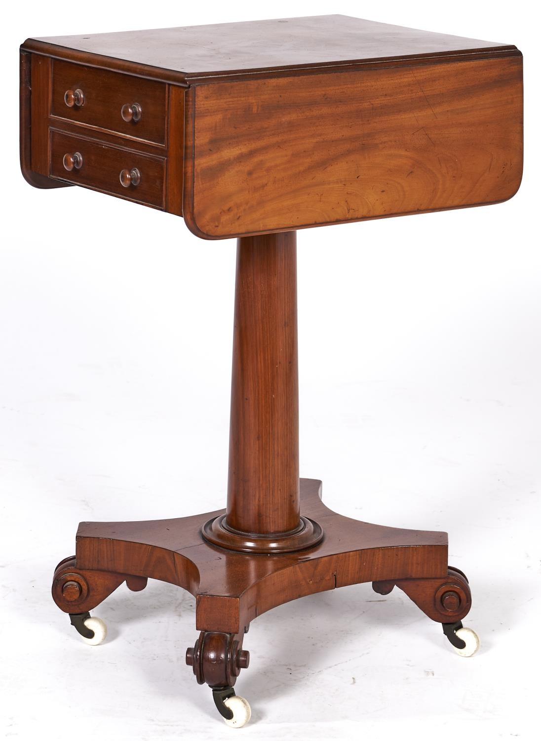 A Victorian mahogany drop leaf work table, fitted with two drawers on turned pillar and mahogany