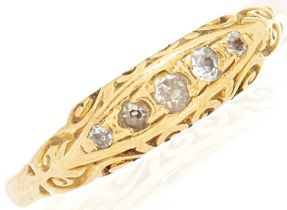 A five stone diamond ring, in gold marked 18, 3.6g, size M