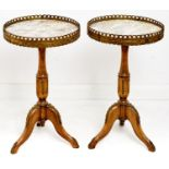 A pair of French giltmetal mounted limed wood tripod tables, with galleried marble top, late 20th c,