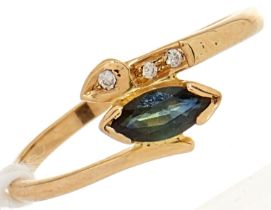 A sapphire and diamond ring, in gold marked 18, 1.7g, size K