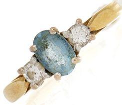 An 18ct gold diamond and aquamarine ring, 2.7g, size I