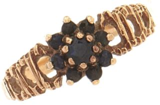 A 9ct gold sapphire cluster ring, 1.7g, size J