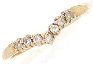 A 9ct gold diamond dart ring, 1.3g, size O½