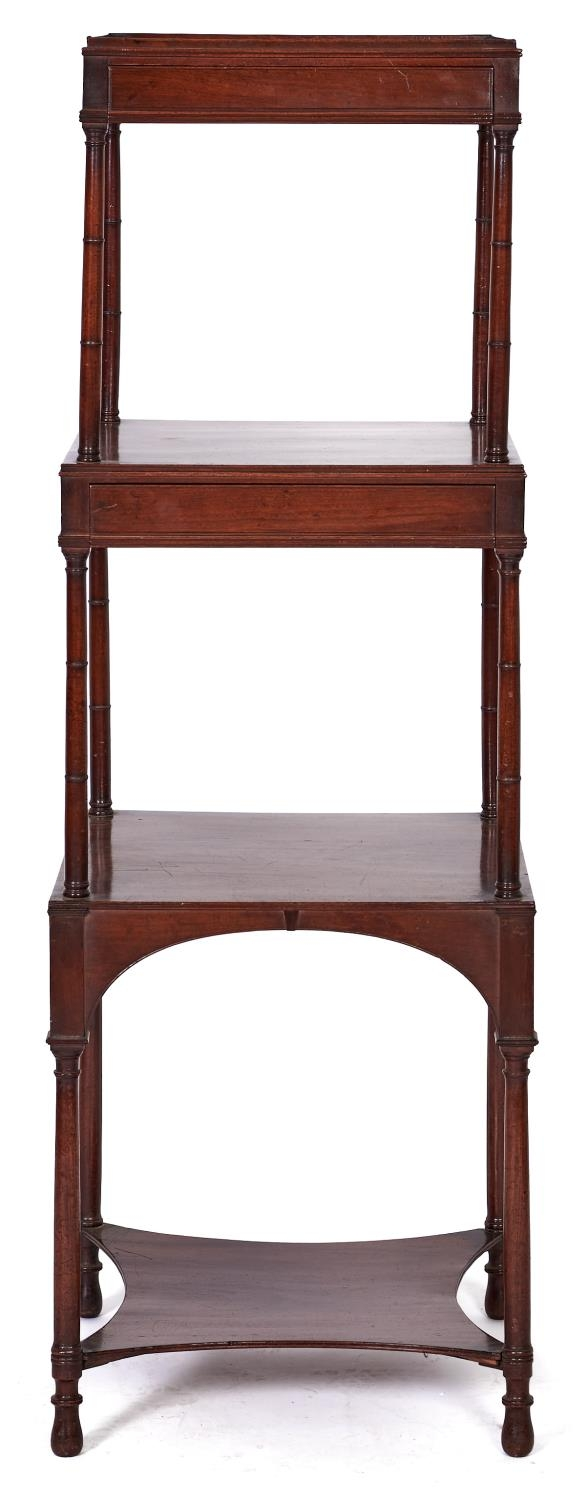 A George IV mahogany whatnot, c1820, of three square tiers, two fitted with a drawer to the frieze