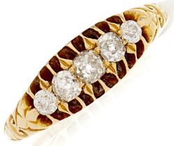 An 18ct gold five stone diamond ring, 0.24ct approx., 3.7g, size N