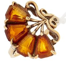 A fan shaped four stone citrine ring, in gold, 3.7g, size, J½