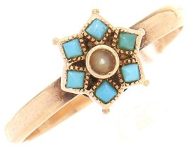 A turquoise and split pearl cluster ring, in gold, 1.7g, size L
