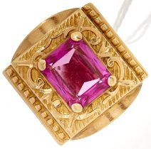 A synthetic ruby ring, in gold marked 18, 13g, size U