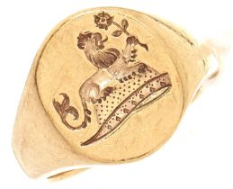 A 9ct gold signet ring, 9.2g, size J