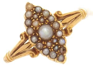 A split pearl marquise cluster ring, in gold marked 18, 3.1g, size N