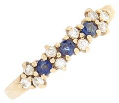 A 9ct gold sapphire and diamond ring, 2g, size R