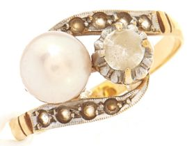 A cultured pearl and paste ring, in gold, 2.9g, size L½