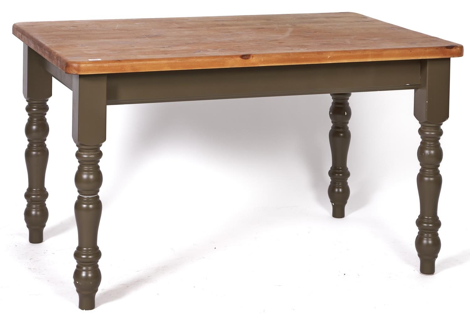 A reproduction pine topped kitchen table in Victorian style, modern, the stripped pine rectangular