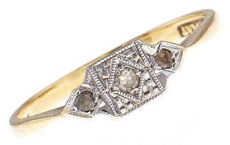 A three stone diamond ring, in gold marked 18ct & PLAT, 1.6g, size K Good condition