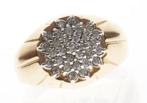 A diamond cluster ring, in 14ct gold, 8.5g, size F Good condition