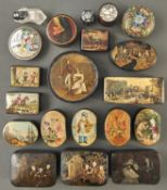 Fifteen various papier mache snuff boxes, early - late 19th c, with painted, printed and painted