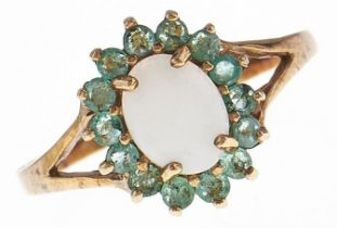 An opal and emerald cluster ring and a similar pendant, both in 9ct gold and a gold necklet, 4.3g,