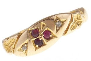 An Edwardian ruby and diamond ring, in 18ct gold, Birmingham 1903, 2.4g, size L Wear consistent with