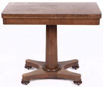 An early Victorian rosewood card table, on octagonal pillar, platform and bun feet, 91.5cm l Top