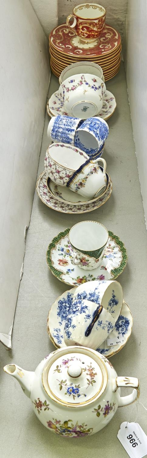 Miscellaneous English bone china pottery teaware, including Meissen cobalt bordered miniature cup