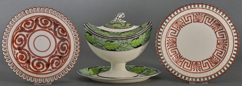 A Spode creamware sauce tureen and cover, early 19th c, pattern 1640 and two contemporary