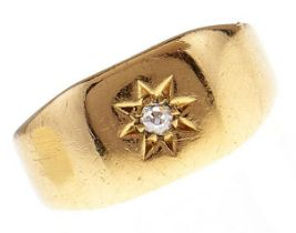 A Victorian diamond ring, gypsy set, in 18ct gold, marks rubbed, c1900, 3.9g, size P Wear consistent