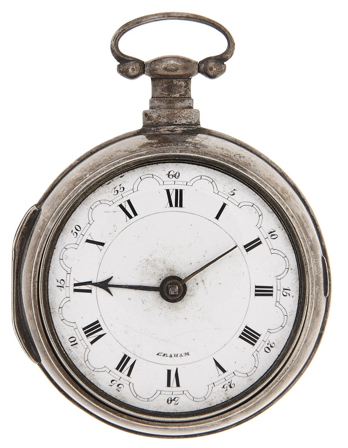 A silver pair cased verge watch, late 18th c, with Continental style dial and bridge balance, both