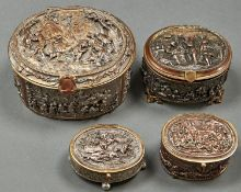 Four similar graduated oval French electrotype jewel caskets, late 19th c, 13.5cm l and smaller,