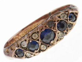 A Victorian gem set 9ct gold ring, c1900, Birmingham, date letter rubbed, 2g, size M Hoop repaired