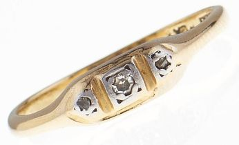 A three stone diamond ring, in gold marked 18ct PLAT, 2g, size M Hoop slightly distorted
