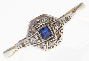 A sapphire and diamond ring, in gold marked 18ct PLAT, 2.3g, size Q Wear consistent with age and