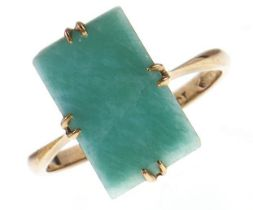 An amazonite ring, in gold marked 9ct, 2.3g, size M Good condition