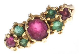 An antique tourmaline ring, c1900, in 18ct gold, 3g, size H Central stone abraded, Birmingham