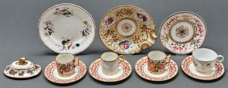 A pair of Flight, Barr and Barr Japan pattern coffee cans and a marbled example, c1820, 60mm h,