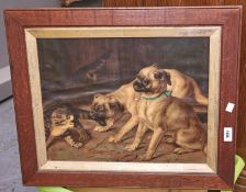 Miscellaneous pictures and prints, to include a Victorian chromolithograph of pug dogs, in oak frame