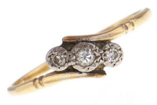 A three stone diamond ring, in gold, marks rubbed, 2.3g, size V Wear consistent with age