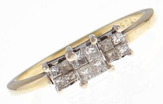 A twelve stone diamond ring with princess cut diamonds, in 18ct gold, 2.9g, size M Good condition