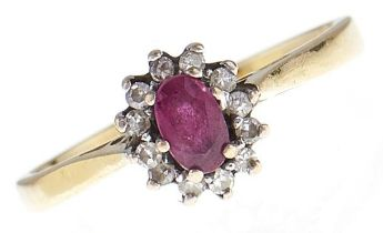 A ruby and diamond cluster ring, in 18ct gold, 2.6g, size M Good condition