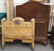 Two floral painted pine single bedsteads and a walnut bedstead Pine examples - paint rubbed and