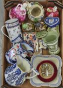 Miscellaneous ornamental ceramics, to include a Samson type Chinese export style mug, 19th c Gaudy