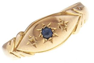 An Edwardian sapphire ring, gypsy set in 18ct gold, Chester 1902, 2.1g, size M Lacking the two