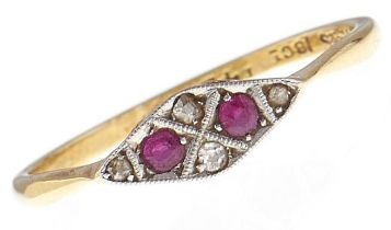 A ruby and diamond ring, in gold marked 18ct PLAT, 1.9g, size Q Good condition