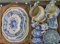 Two late 19th c Spode of blue and white meat plates, transfer printed with summer blooms within