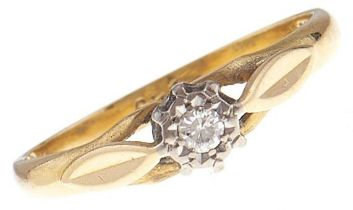 A diamond solitaire ring, in 18ct gold, 2g, size K Good condition
