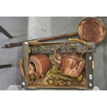 Miscellaneous Victorian and later copper and brass ware, to include kettles, candlesticks and