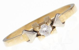 A diamond solitaire ring, in gold marked 18ct and 0.40, 3.2g, size Q Inner face of hoop with file or