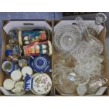 Miscellaneous ceramics and glass, to include Wedgwood dark blue jasper dip tea ware and jug, early