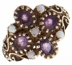An amethyst and opal ring, in 9ct gold, 3.1g, size L½ Good condition