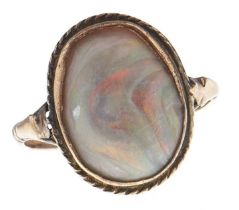 A black opal ring, in gold marked 9c, 2.6g, size N Opal genuine but heavily abraded, ring worn and
